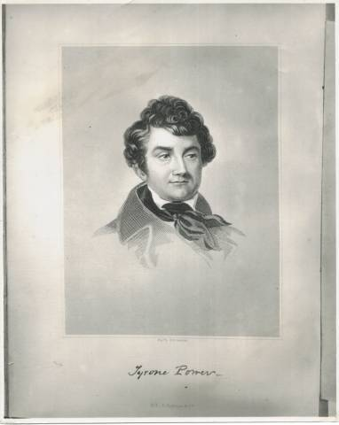 "Still Photo of Tyrone Power, great-grandfather of this Tyrone Power found by Power in an 1857 book ""Wit and Humour"".  Came to US from Ireland in 1822 to become the most famous comedian of his day.  At the height of his success, Power was lost at sea in 1841 while returning to England for a visit."