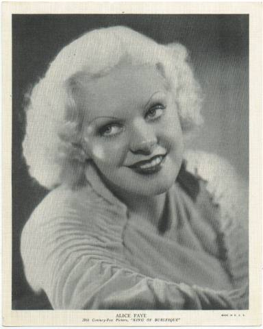 1936 R95 Linen Portrait featuring Alice Faye