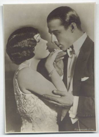 Rudolph Valentino featured on 1920's post card with Gloria Swanson