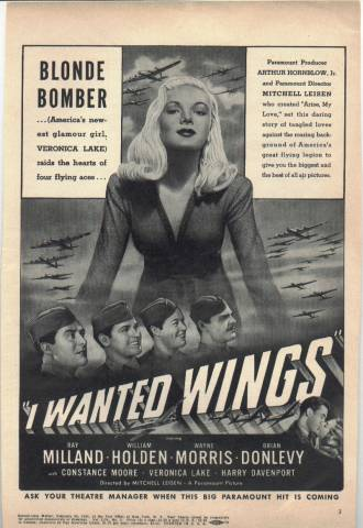 Magazine ad for I Wanted Wings featuring Veronica Lake