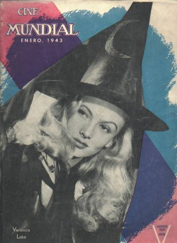 1943 Cinemundial Magazine featuring Veronica Lake on the cover from I Married a Witch