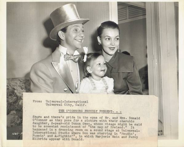Mr. & Mrs. Donald O'Connor with their two-year-old daughter Press Photo