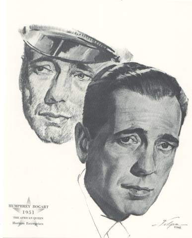 Volpe sketch of Humphrey Bogart in The African Queen