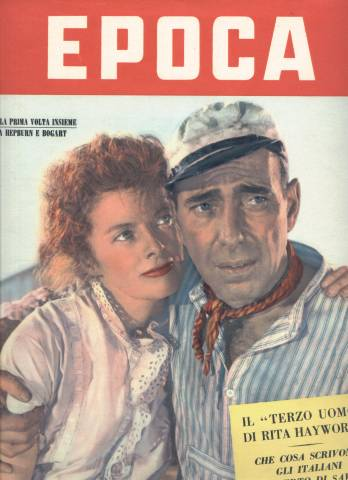 EPOCA Magazine cover featuring Humphrey Bogart and Katharine Hepburn as they appeared in The African Queen