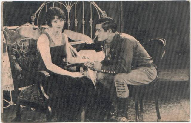 Billie Dove postcard with Tom Mix