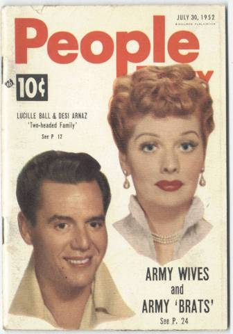 1952 People Today featuring Lucille Ball and Desi Arnaz on the cover