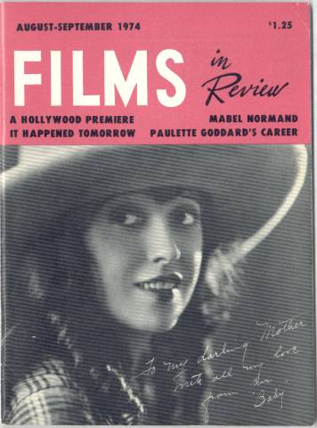 Mabel Normand as featured on the cover of the August-September 1974 issue of Films in Review