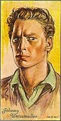 Reprint of Player's Tobacco Card featuring Johnny Weissmuller