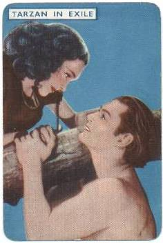 1939 Film Fantasy Playing Card Tarzan in Exile featuring Johnny Weissmuller and Maureen O'Sullivan