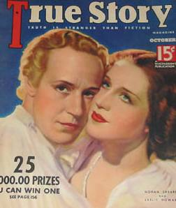 Leslie Howard graces the cover of True Story Magazine with Norma Shearer