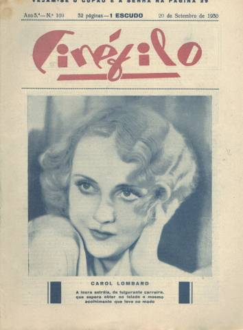 "1930 Cinefilo with Carole Lombard cover. Notice she hasn't added the ""e"" to her first name as of yet."