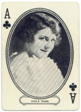 Viola Dana as the Ace of Clubs on a MJ Moriarty Playing Card