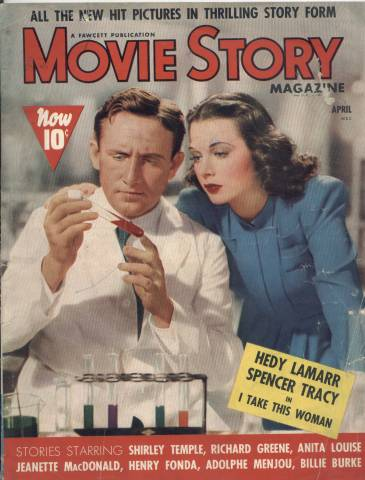 Spencer Tracy with Hedy Lamarr on the cover of Movie Story Magazine