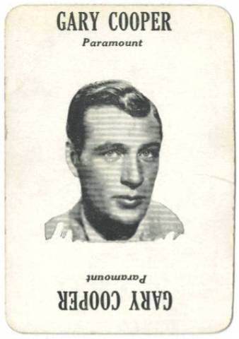 1929 Gary Cooper Movie-Land Keeno Game Card