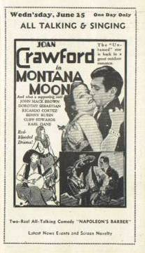 "June 25, 1930 Joan Crawford in ""Montana Moon"" at the Irving Theatre in Chicago"