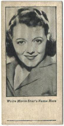 1934 Write Name Here Janet Gaynor Trading Card