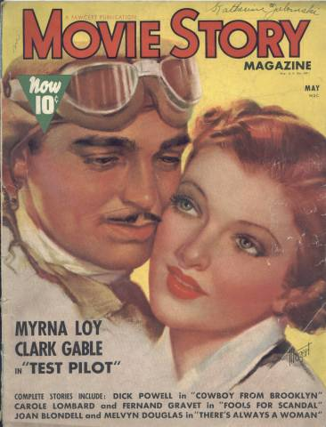 Myrna Loy and Clark Gable on the cover of Movie Story Magazine, 1938