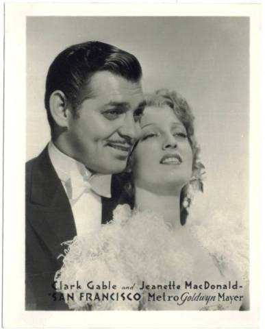 1936 MGM - Watkins 4x5 Promotional Photo of Jeanette MacDonald with Clark Gable in San Francisco