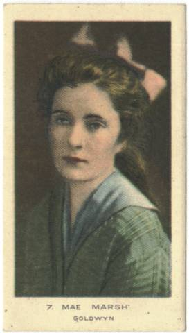Circa 1922 Mae Marsh Color Tobacco Card (Anonymous issue)