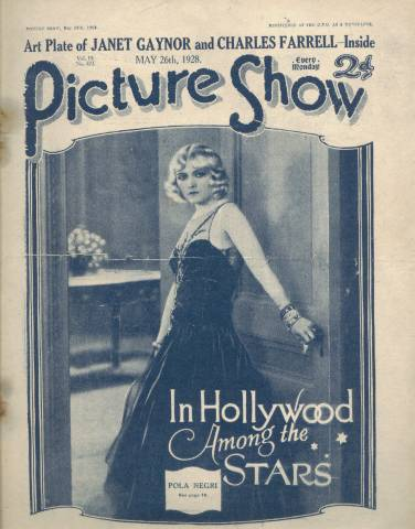 Pola Negri on the cover of Picture Show Magazine - Issue dated May 26, 1928