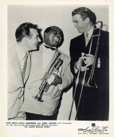 James Stewart with Louis Armstrong & Gene Krupa in The Glenn Miller Story