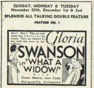 "Ad for Gloria Swanson in ""What a Widow!"""