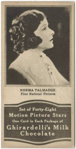 1920's Norma Talmadge Ghiradellis Chocolate Trading Card