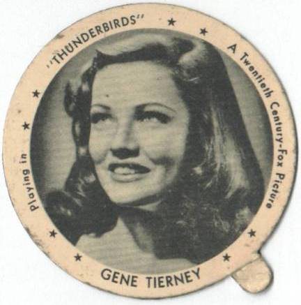 Gene Tierney on Dixie Cup Lid - Thunderbirds