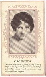 Circa 1915 Cleo Madison Ornate Pink Border Trading Card