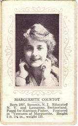 Circa 1915 Marguerite Courtot Ornate Pink Border Trading Card