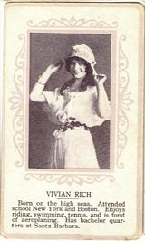 Circa 1915 Vivian Rich Ornate Pink Border Trading Card