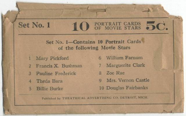 Packaging for 1917 Theatrical Advertising Cards