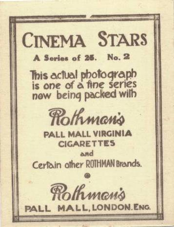 Reverse image of 1925 Rothman's Cinema Stars Tobacco Card