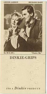 1948 Dinkie Grips MGM Films #11 Greer Garson and Richard Hart in Desire Me