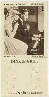 1948 Dinkie Grips MGM Films #6 Katharine Hepburn and Paul Henreid in Song of Love