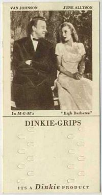 1948 Dinkie Grips MGM Films #20 Van Johnson and June Allyson in High Barbaree