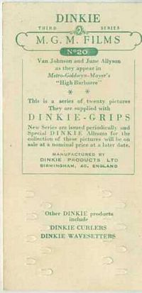 1948 Dinkie Grips MGM Films example of reverse side