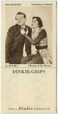 1948 Dinkie Grips MGM Films #16 Red Skelton and Virginia O�Brien in Merton of the Movies