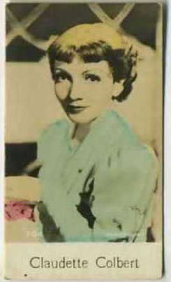 Claudette Colbert - 1935 De Beukelaer Movie Card