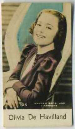 Olivia De Havilland - 1935 De Beukelaer Movie Card