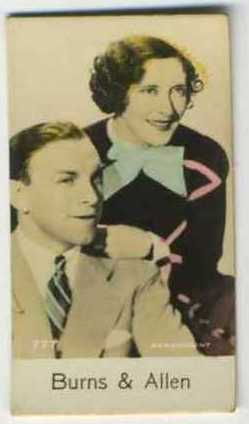 Burns and Allen - 1935 De Beukelaer Movie Card