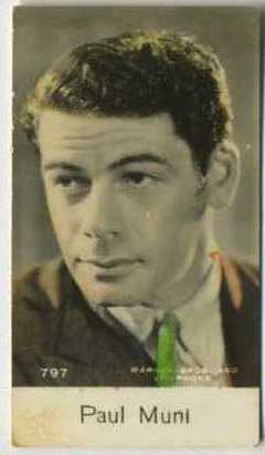 Paul Muni - 1935 De Beukelaer Movie Card