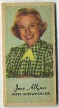 June Allyson - 1950s Engrav-o-tint Peerless Weight Machine Card