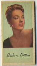 Barbara Britton - 1950s Engrav-o-tint Peerless Weight Machine Card