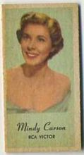 Mindy Carson - 1950s Engrav-o-tint Peerless Weight Machine Card