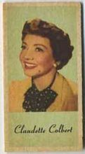 Claudette Colbert - 1950s Engrav-o-tint Peerless Weight Machine Card