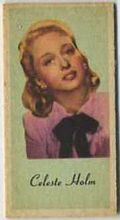 Celeste Holm - 1950s Engrav-o-tint Peerless Weight Machine Card
