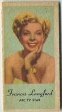 Frances Langford - 1950s Engrav-o-tint Peerless Weight Machine Card