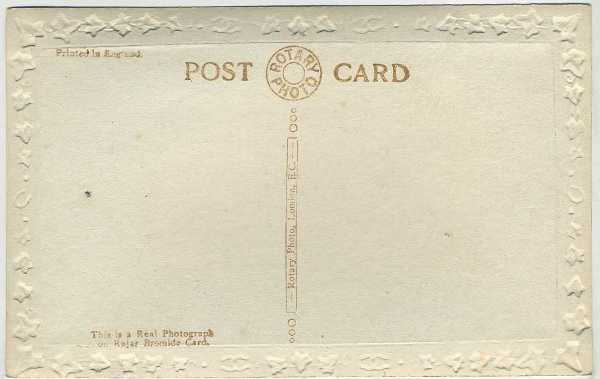 Reverse side of 1910's Mary Pickford S Series Rotary Photograph Postcard