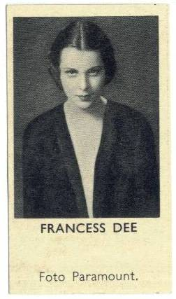 1935 Frances Dee Shirley's Gum Card